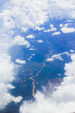 Beautiful cloud and river from plane window Stock Image