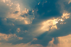 Beautiful cloud and sky sunlight ray while sunset in twilight time. Royalty Free Stock Photo