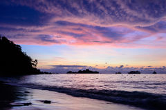 Beautiful cloud and sky at sunrise on the beach Royalty Free Stock Photos