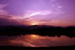 Lake and Mountain with twilight background Stock Photography