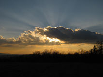 Beautiful cloud sunset. In blue and yellow color Royalty Free Stock Images