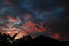 Beautiful cloudly skies at bogor. Beautiful cloudly skies during sunset at Bogor west java, Indonesia Stock Photos