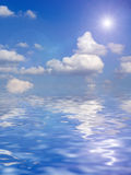 Beautiful clouds above ocean background Royalty Free Stock Photo