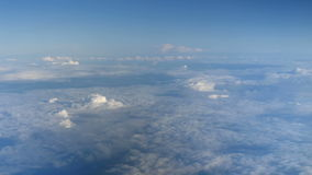 Beautiful clouds through an airplane window (LR Pan, No 1) stock video