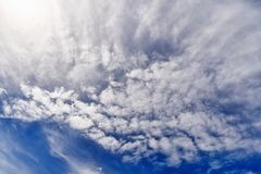 Beautiful clouds in the blue sky stock image