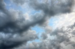 Beautiful clouds with blue sky background. Nature weather stock photo