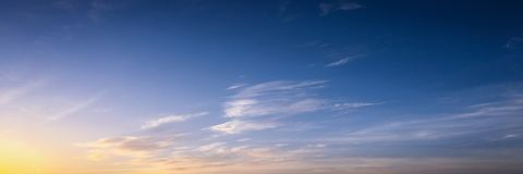 Beautiful clouds with blue sky background. Nature weather, blue sky cloud and sun. stock photo