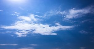 Beautiful clouds with blue sky background. Nature weather, cloud blue sky and sun. stock images