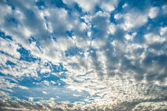 Beautiful clouds and blue sky. Clouds and a beautiful evening sky Royalty Free Stock Photo