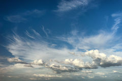 Beautiful clouds in the blue sky over the sea Stock Photo