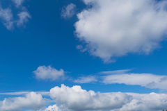 Blue sky with clouds closeup Stock Images