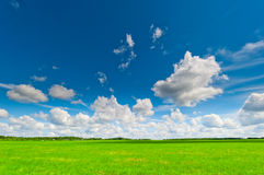 Beautiful clouds cast  shadows on the green field Stock Photos