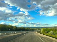 Beautiful clouds landscape road at near by Kirikkale city Middle of Anatolia, Turkey royalty free stock image