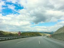 Beautiful clouds landscape road at near by Kirikkale city Middle of Anatolia, Turkey royalty free stock photos