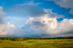 Beautiful clouds over Big Meadows, in Shenandoah National Park, Royalty Free Stock Images