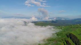 Beautiful clouds over Carpatian mountains stock video