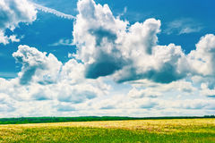 Beautiful clouds over the field Stock Photography