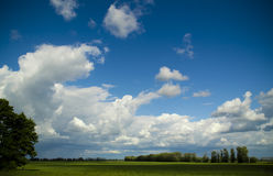 Beautiful clouds over the field Stock Images