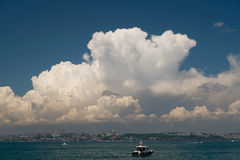 Beautiful Clouds Over Istanbul Historical Peninsula Royalty Free Stock Image