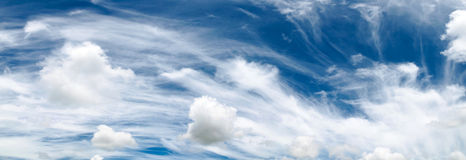 Beautiful clouds stream and sky before rains panorama. Stock Photography