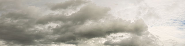 Beautiful clouds stream and sky before rains panorama. Royalty Free Stock Photo
