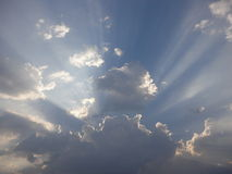 Beautiful clouds. With sun in the summer Stock Photography