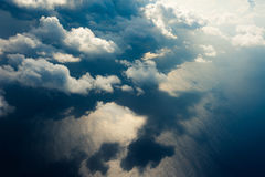 Beautiful cloudscape with blue ocean water as background Royalty Free Stock Image