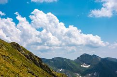 Beautiful cloudscape over the Fagaras mountains. Bright sunny day in Romania. beautiful nature background Stock Image