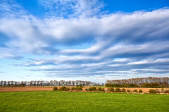 Beautiful cloudscape over green meadows Stock Photo