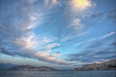 Beautiful cloudscape over Krk island,Baska,Croatia Royalty Free Stock Photography