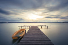 Beautiful cloudscape over the lake long exposure Royalty Free Stock Images