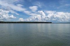 Beautiful cloudscape over river Ob. In Siberia, Russia stock photos