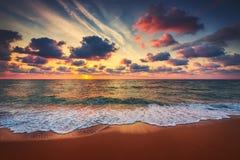 Beautiful sunrise over the sea. Beautiful cloudscape over the sea, sunrise shot stock photo