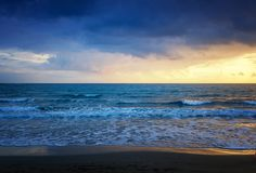 Beautiful cloudscape over the sea, sunrise and sunset shot royalty free stock image