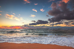 Beautiful cloudscape over the sea, sunset shot. Beautiful cloudscape over the sea, sunset background Stock Photography