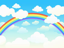 Beautiful cloudscape with rainbow. Royalty Free Stock Photos