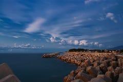 Beautiful cloudscape on the seashore. Breakwaters on the seashore. Japan Royalty Free Stock Images