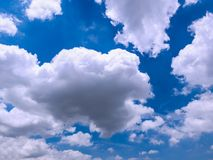Beautiful cloudspace on blue sky. Big white cloud on clear blue sky background Royalty Free Stock Photography