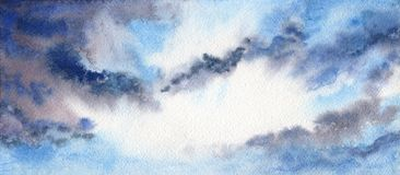 Beautiful cloudy blue sky. Heaven. Cleared up after the rain. royalty free illustration