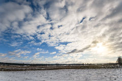 Beautiful cloudy and blue sky panorama over ice lake Royalty Free Stock Photography