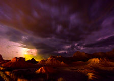 Beautiful Cloudy Night Badlands South Dakota Royalty Free Stock Photography