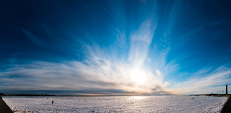 Beautiful cloudy sky panorama over ice Royalty Free Stock Photography