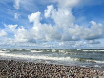 Baltic sea coast and beautiful cloudy sky, Lithuania Royalty Free Stock Photos