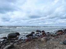 Baltic sea coast and beautiful cloudy sky, Lithuania Stock Images