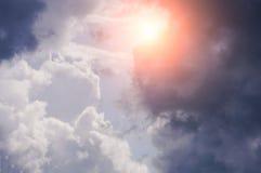 Beautiful cloudy sky with sunlight.  Royalty Free Stock Photos
