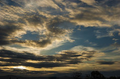 Beautiful cloudy sky. Sunset Royalty Free Stock Photos