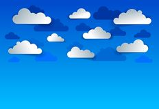 Beautiful cloudy sky vector modern style paper cut cartoon. Illustration vector illustration