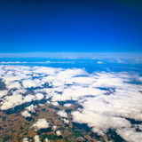 Beautiful cloudy sky view from air plane window Royalty Free Stock Images