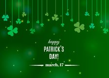 Beautiful clover shamrock leaves banner template for St. Patrick`s day design or greeting card. Vector illustration with white lettering logo and clover on vector illustration