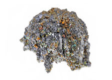 Beautiful cluster of pyrite. Quartz, galena, quartz pink Royalty Free Stock Images